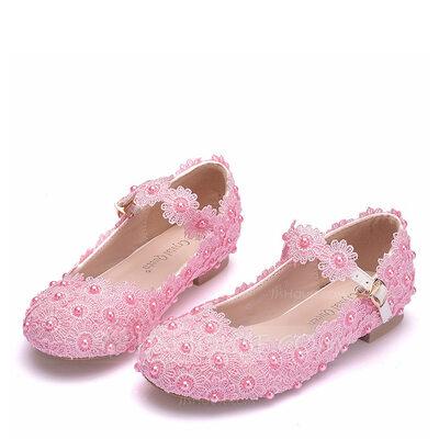 Fille de bout rond Bout fermé Mary Jane similicuir Chaussures plates avec Boucle Perle d'imitation Motif appliqué