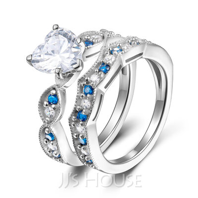 Milgrain Stackable Heart Cut 925 Silver Bridal Sets