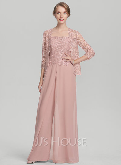 A-Line Square Neckline Floor-Length Chiffon Lace Mother of the Bride Dress