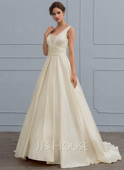 Ball gown v neck sweep train satin wedding dress with lace for V neck satin wedding dress