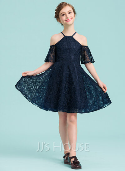A-Line/Princess Square Neckline Knee-Length Lace Junior Bridesmaid Dress