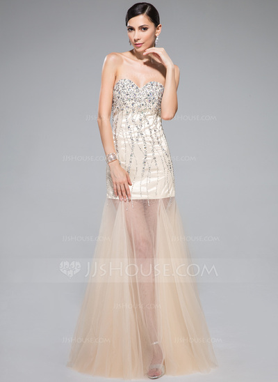 Trumpet/Mermaid Sweetheart Floor-Length Tulle Prom Dress With Beading Sequins