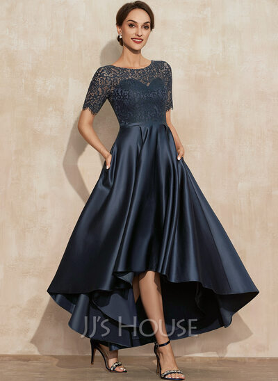 A-Line Scoop Neck Asymmetrical Satin Lace Cocktail Dress With Pockets