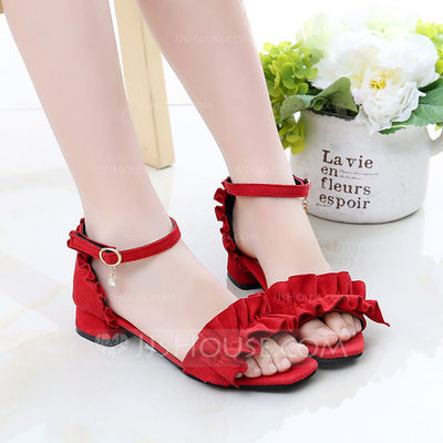 Girl's Peep Toe Suede Sandals Flats With Ruffles Button