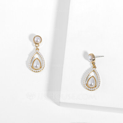Ladies' Elegant Alloy/Imitation Pearls/S925 Sliver Imitation Pearls Earrings For Bride