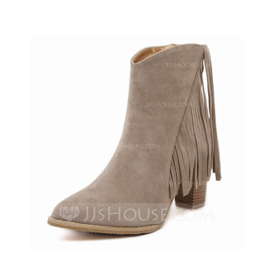 Women's Suede Chunky Heel Platform Ankle Boots With Zipper Tassel shoes