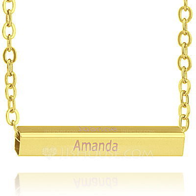 Christmas Gifts For Her - Custom 18k Gold Plated Silver Bar Necklace Nameplate