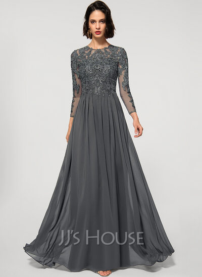 A-Line Scoop Neck Floor-Length Chiffon Lace Evening Dress With Sequins