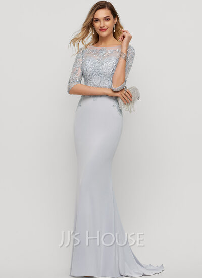Trumpet/Mermaid Scoop Neck Sweep Train Jersey Evening Dress With Beading Sequins