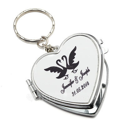 Personalized Swan Design Stainless Steel Keychains/Compact Mirror
