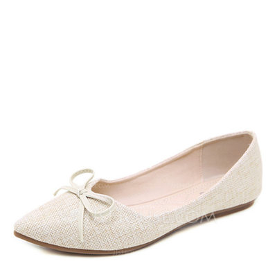 Women's Canvas Flat Heel Flats Closed Toe With Bowknot shoes