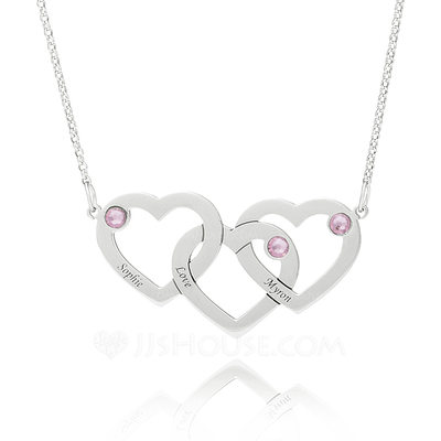Christmas Gifts For Her - Custom Sterling Silver Heart Engraving/Engraved Overlapping Three Name Necklace Heart Necklace With Birthstone