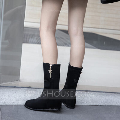 Suede Wedge Heel Flats Wedges Slippers With Zipper shoes