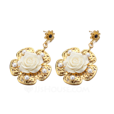 Flower Shaped Alloy/Ceramic/Gold Plated With Pearl Ladies' Earrings