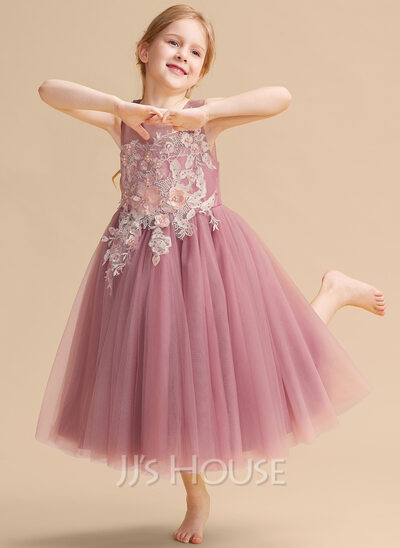 Ball-Gown/Princess Tea-length Flower Girl Dress - Tulle Sleeveless Scoop Neck With Lace/Beading