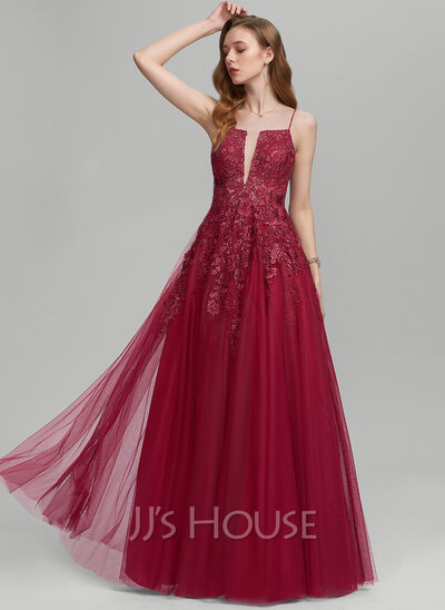 A-Line Square Neckline Floor-Length Tulle Prom Dresses With Sequins