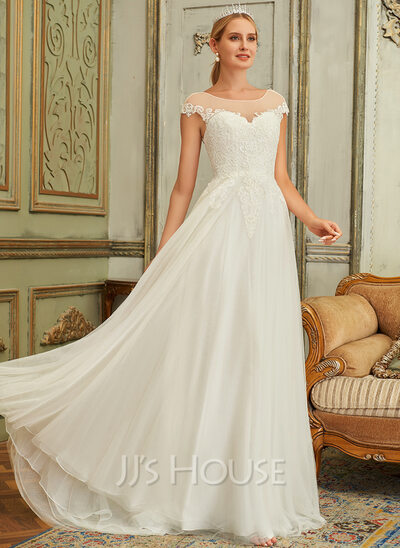 Ball-Gown/Princess Scoop Neck Sweep Train Tulle Lace Wedding Dress With Lace