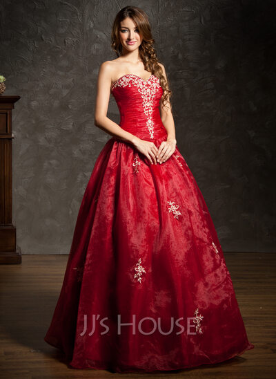 Ball-Gown Sweetheart Floor-Length Organza Quinceanera Dress With Embroidered Ruffle Beading