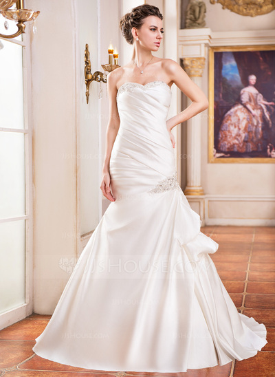 Trumpet/Mermaid Sweetheart Court Train Satin Wedding Dress With Ruffle Lace Beading Sequins