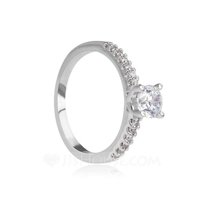 Gorgeous Copper/Platinum Plated With Cubic Zirconia Ladies' Rings