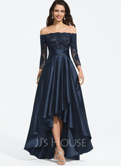 A Formet Off the Shoulder Asymmetrisk Satin Ballkjole (018187198)