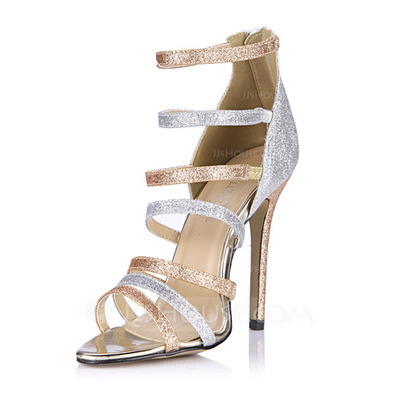 Women's Sparkling Glitter Stiletto Heel Sandals Pumps Peep Toe With Zipper shoes