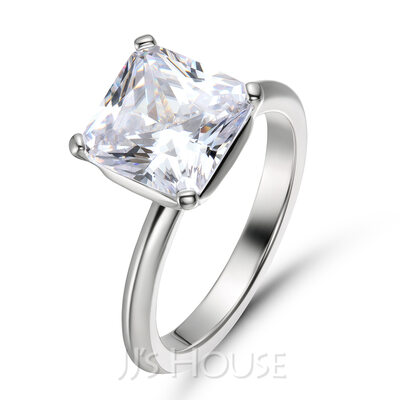Solitaire Princess Cut 925 Silver Engagement Rings