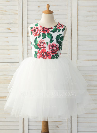 A-Line Knee-length Flower Girl Dress - Satin/Tulle Sleeveless Scoop Neck With Beading/Bow(s)/Back Hole