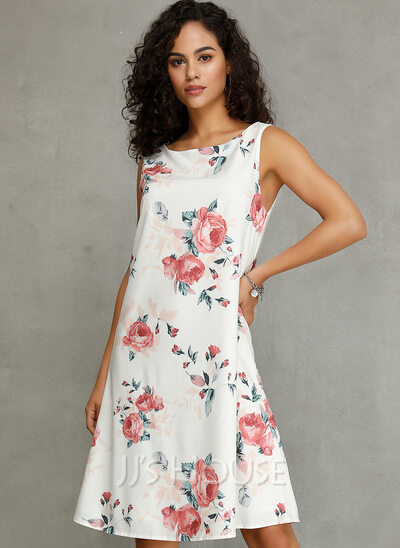 Floral Print Shift Round Neck Sleeveless Midi Casual Tank Dresses