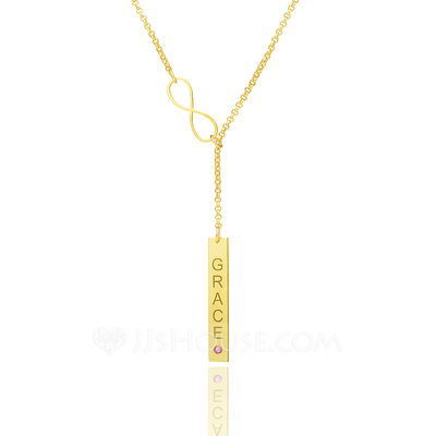 Christmas Gifts For Her - Custom 18k Gold Plated Infinity Birthstone Necklace Bar Necklace With Diamond