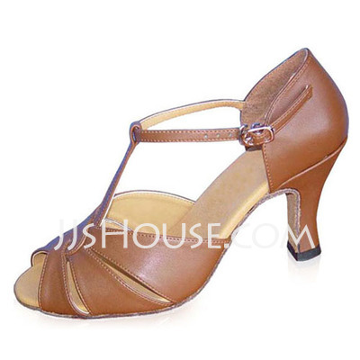 Women's Real Leather Heels Sandals Ballroom Swing With T-Strap Dance Shoes