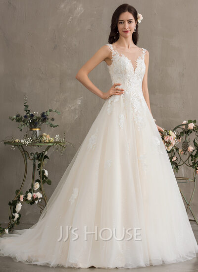 Ball-Gown/Princess Illusion Court Train Tulle Wedding Dress