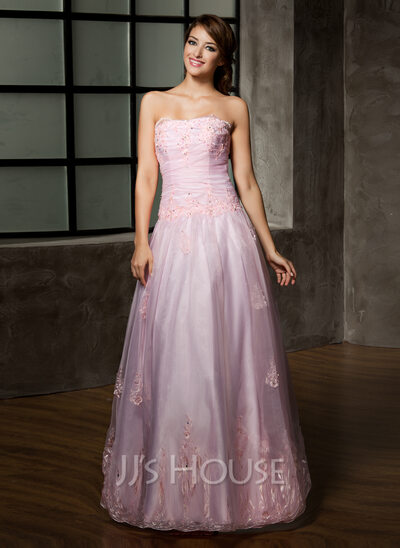 A-Line/Princess Strapless Floor-Length Organza Quinceanera Dress With Ruffle Beading Appliques Lace
