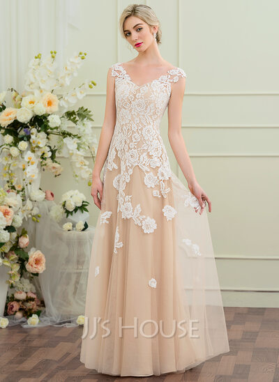 A-Line/Princess V-neck Floor-Length Tulle Wedding Dress