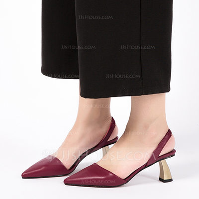 Women's PU Stiletto Heel Closed Toe With Elastic Band shoes