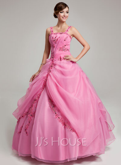 Ball-Gown Floor-Length Organza Quinceanera Dress With Ruffle Beading Appliques Lace