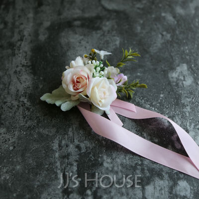 Girly Hand-tied Satin/Silk Flower Wrist Corsage (Sold in a single piece) - Wrist Corsage