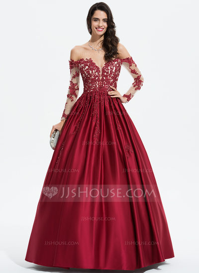 Ball-Gown/Princess Off-the-Shoulder Floor-Length Satin Prom Dresses With Beading Sequins