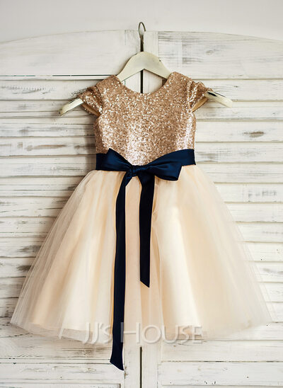 A-Line/Princess Knee-length Flower Girl Dress - Tulle/Sequined Sleeveless Scoop Neck With Sash