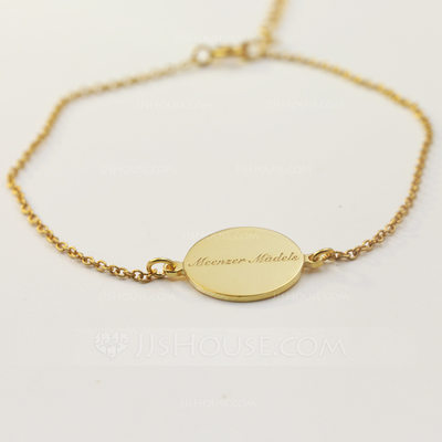 Personalized Ladies' Exquisite Gold Plated With Round Engraved Bracelets Bracelets For Bridesmaid/For Mother/For Friends