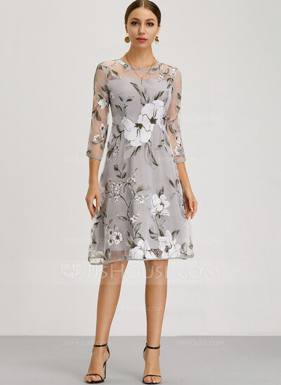Polyester/Organza With Print Knee Length Dress