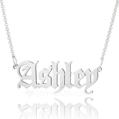 Custom Silver Old English Name Necklace - Christmas Gifts
