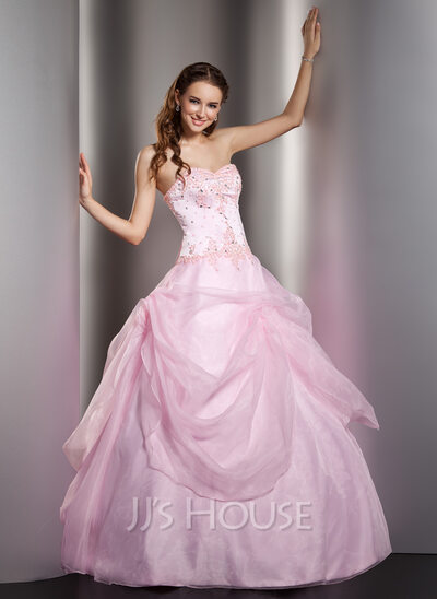 Ball-Gown Sweetheart Floor-Length Organza Quinceanera Dress With Lace Beading