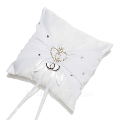 Rhinestone Heart Ring Pillow in Satin With Sash