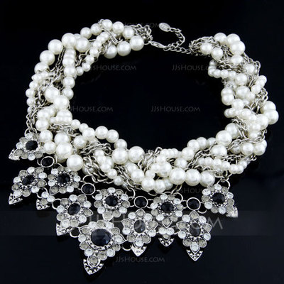 Unique Alloy With Pearl/Rhinestone Ladies' Necklaces