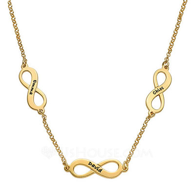 Personalized Ladies Lovely Gold Plated Silver Plated Rose Gold Plated Engraved Necklaces For Bridesmaid For Friends For Couple 011207656