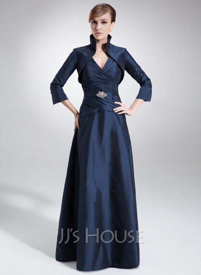 A-Line/Princess V-neck Floor-Length Taffeta Mother of the Bride Dress With Ruffle Beading