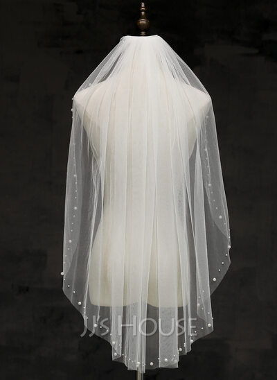 One-tier Cut Edge Fingertip Bridal Veils With Rhinestones