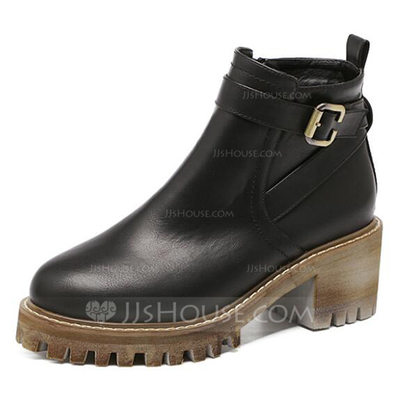 Women's Leatherette Chunky Heel Boots Ankle Boots shoes