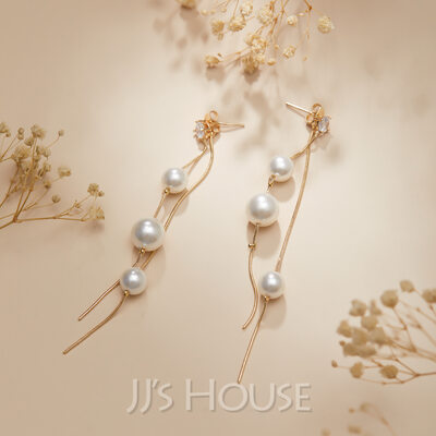 Ladies' Elegant Alloy/Pearl Pearl Earrings